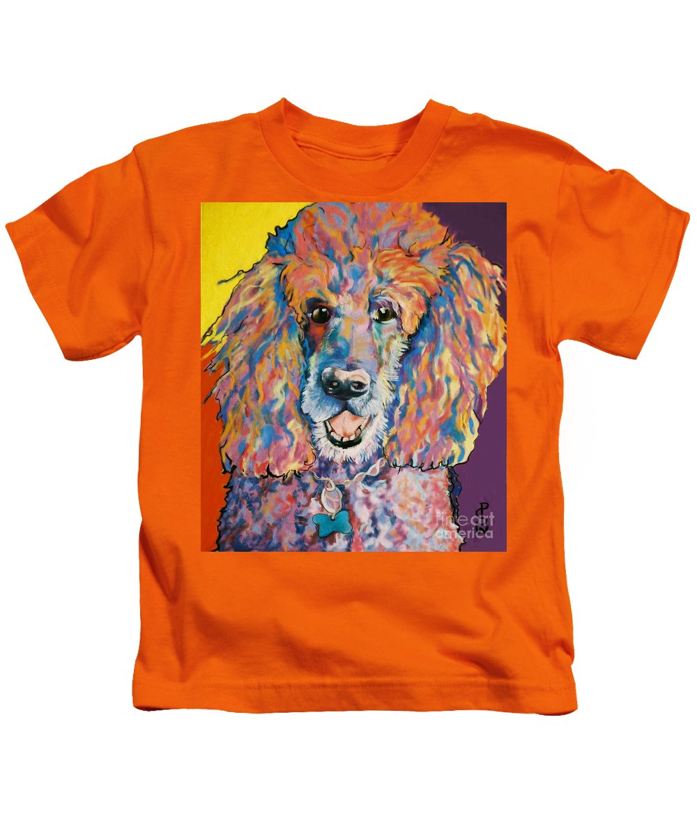 Standard Poodle Kids T-Shirt featuring the painting Cole by Pat Saunders-White