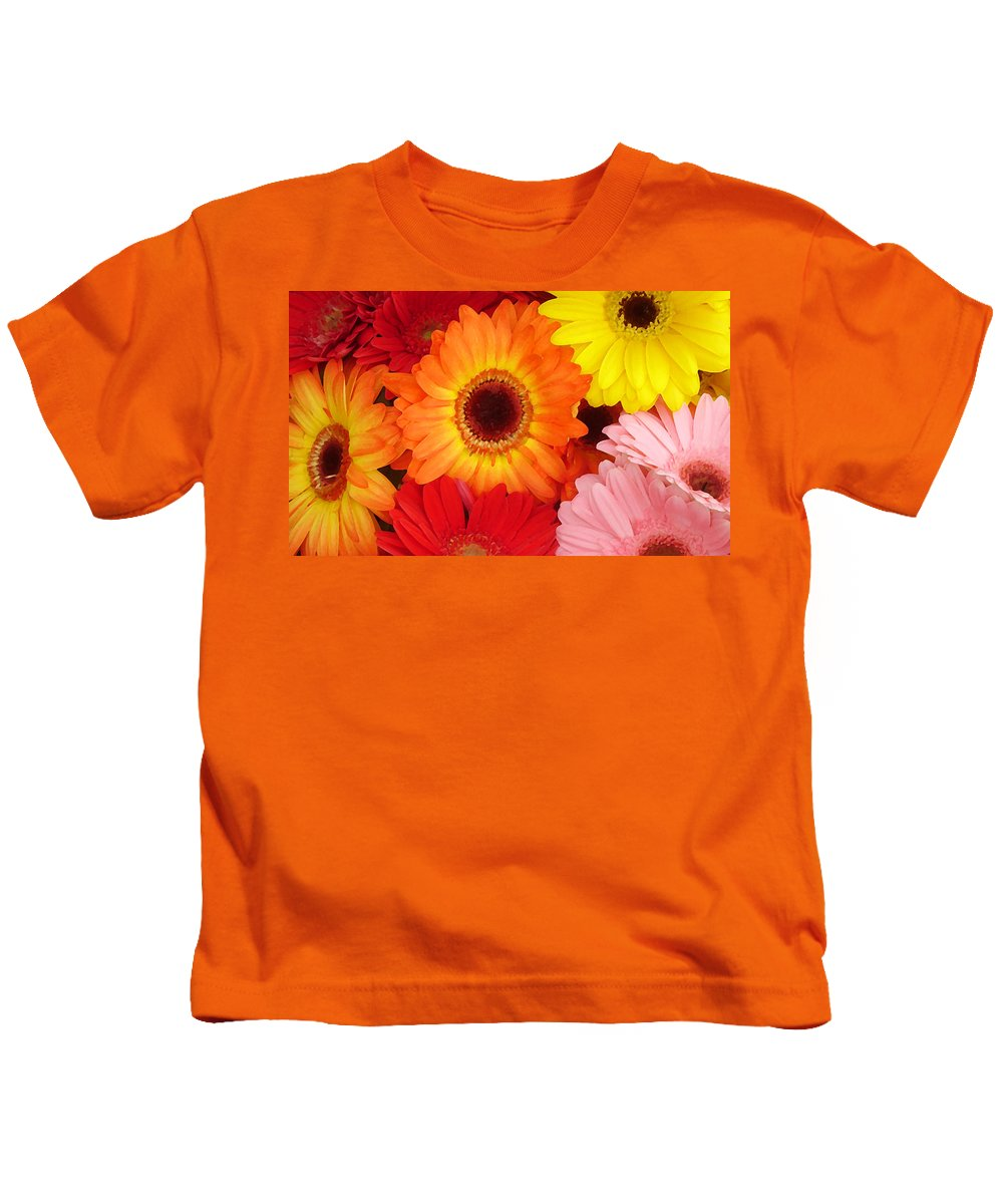 Gerber Daisy Kids T-Shirt featuring the painting Colorful Gerber Daisies by Amy Vangsgard