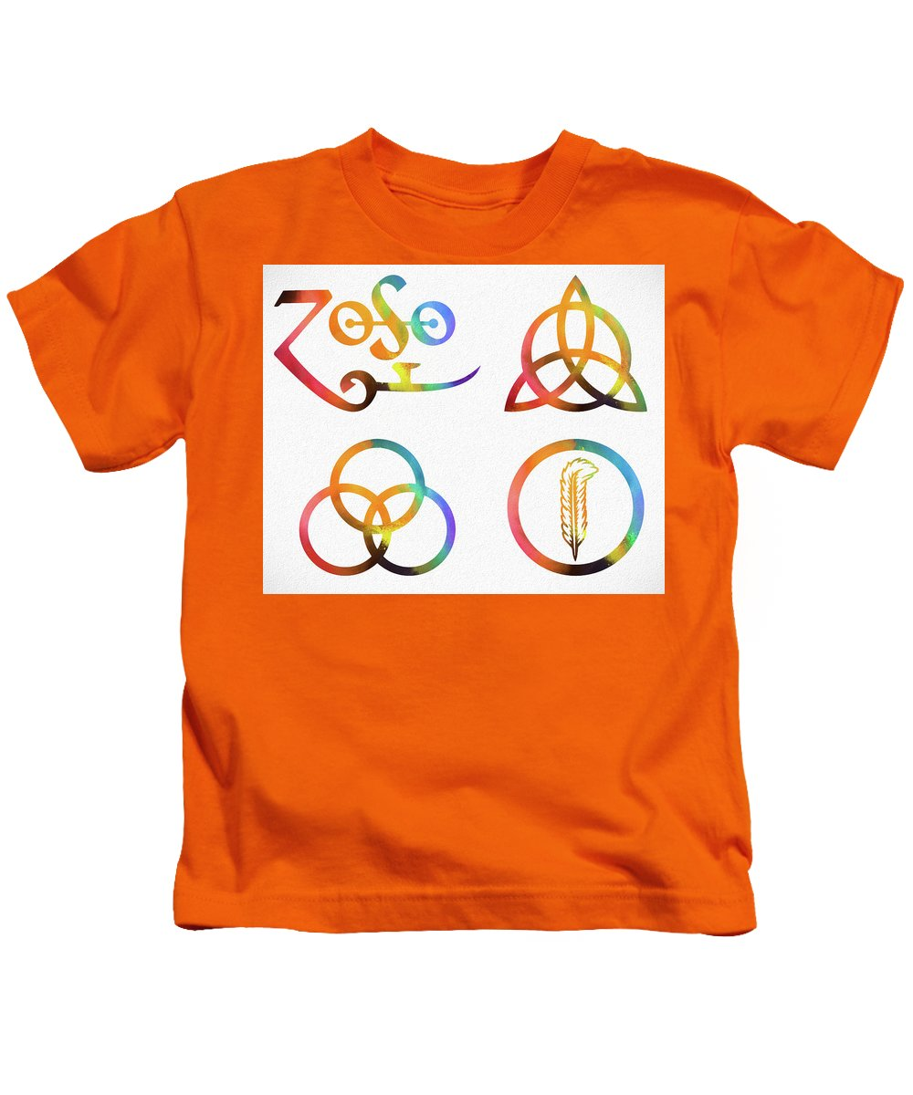 Colorful Zoso Symbols Kids T-Shirt featuring the mixed media Colorful Zoso Symbols by Dan Sproul