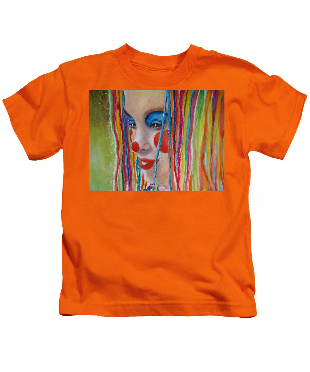 Clowns Kids T-Shirt featuring the painting Complementary by Myra Evans