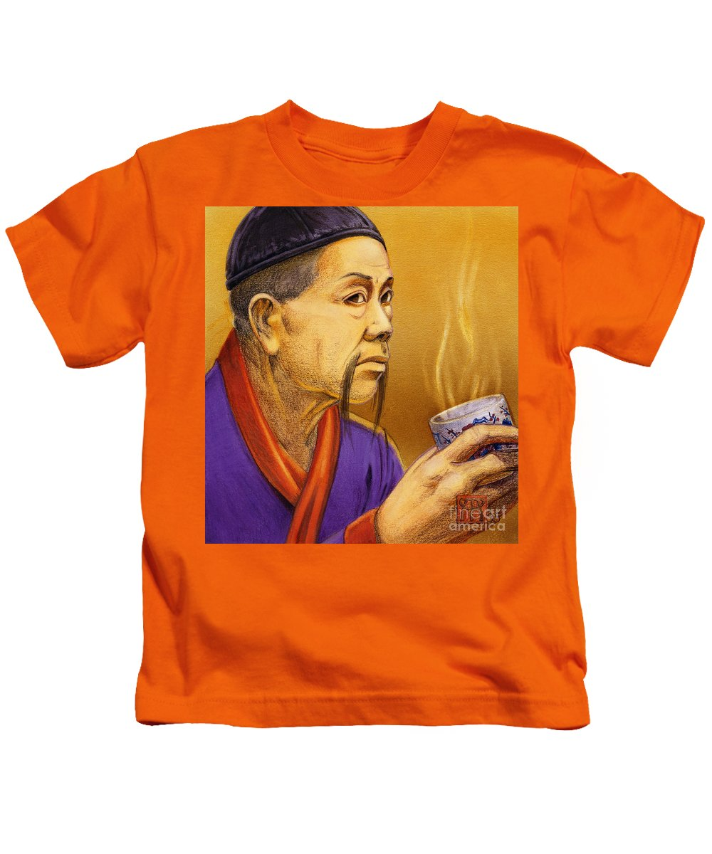 Oriental Kids T-Shirt featuring the painting Confucian Sage by Melissa A Benson