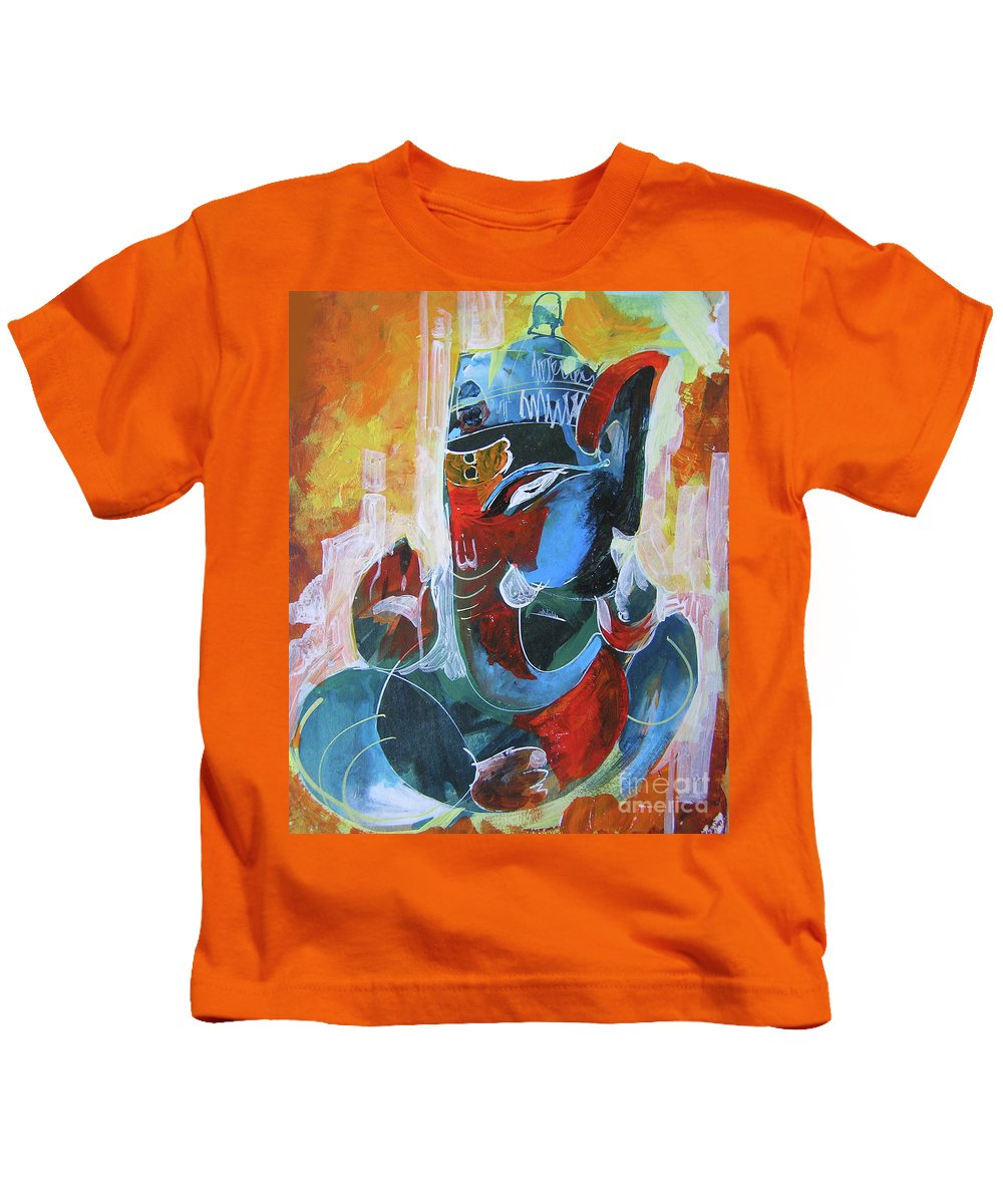 6588aa40a5c418 Ganesha Kids T-Shirt featuring the painting Cool And Graphical Lord Ganesha  by Chintaman Rudra