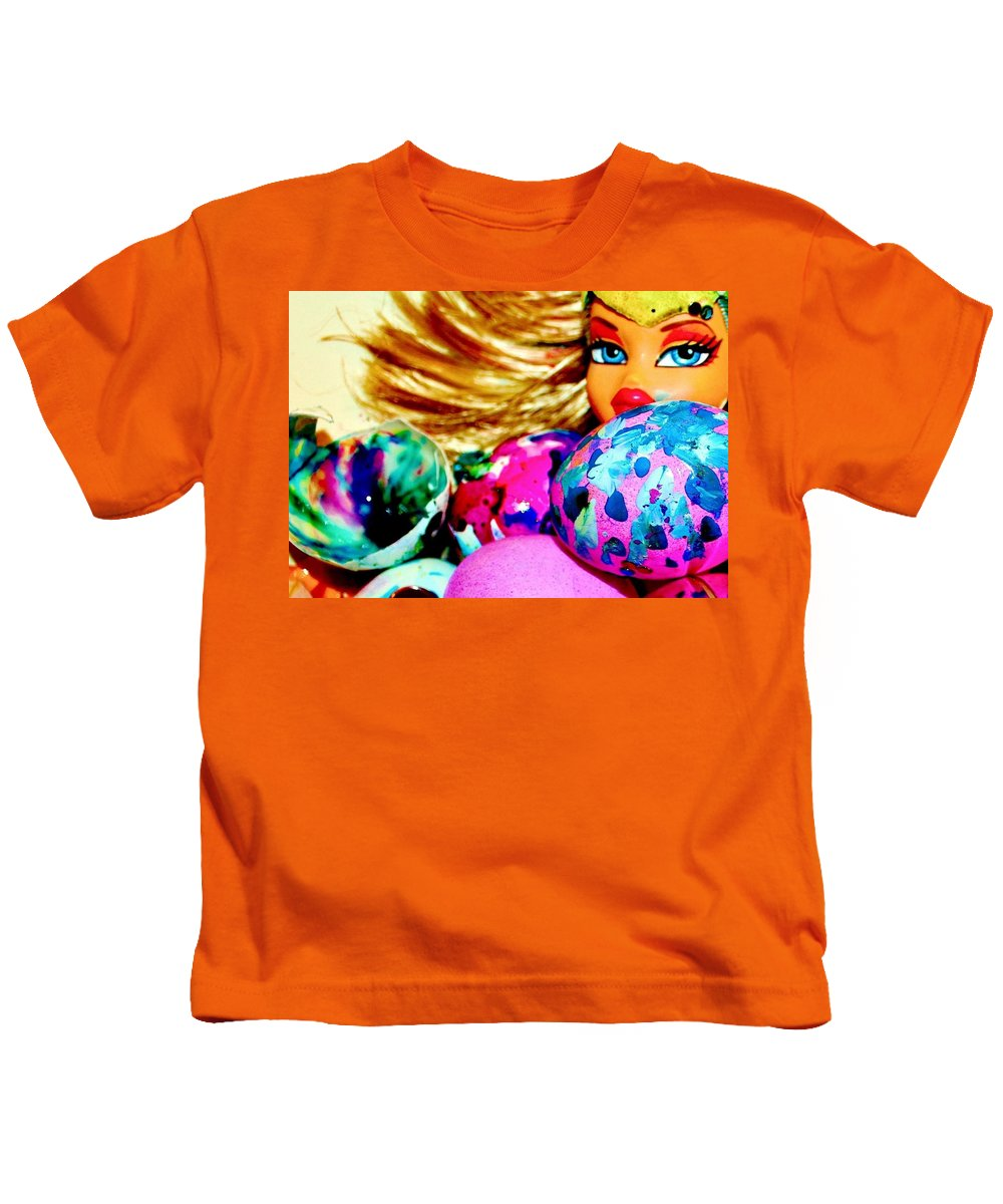 Eggs Easter Brat Doll Cool Kids T-Shirt featuring the photograph Cool Brat by Danielle Valencia D