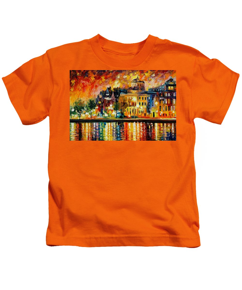 City Kids T-Shirt featuring the painting Copenhagen Original Oil Painting by Leonid Afremov