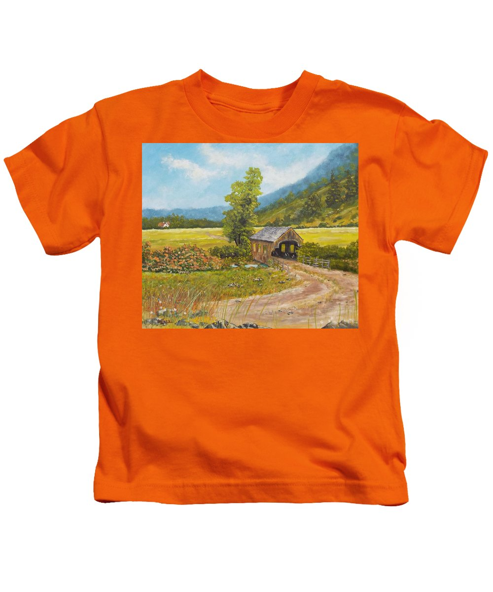 Bridge Kids T-Shirt featuring the painting Covered Bridge At Little Creek by Michael Dillon