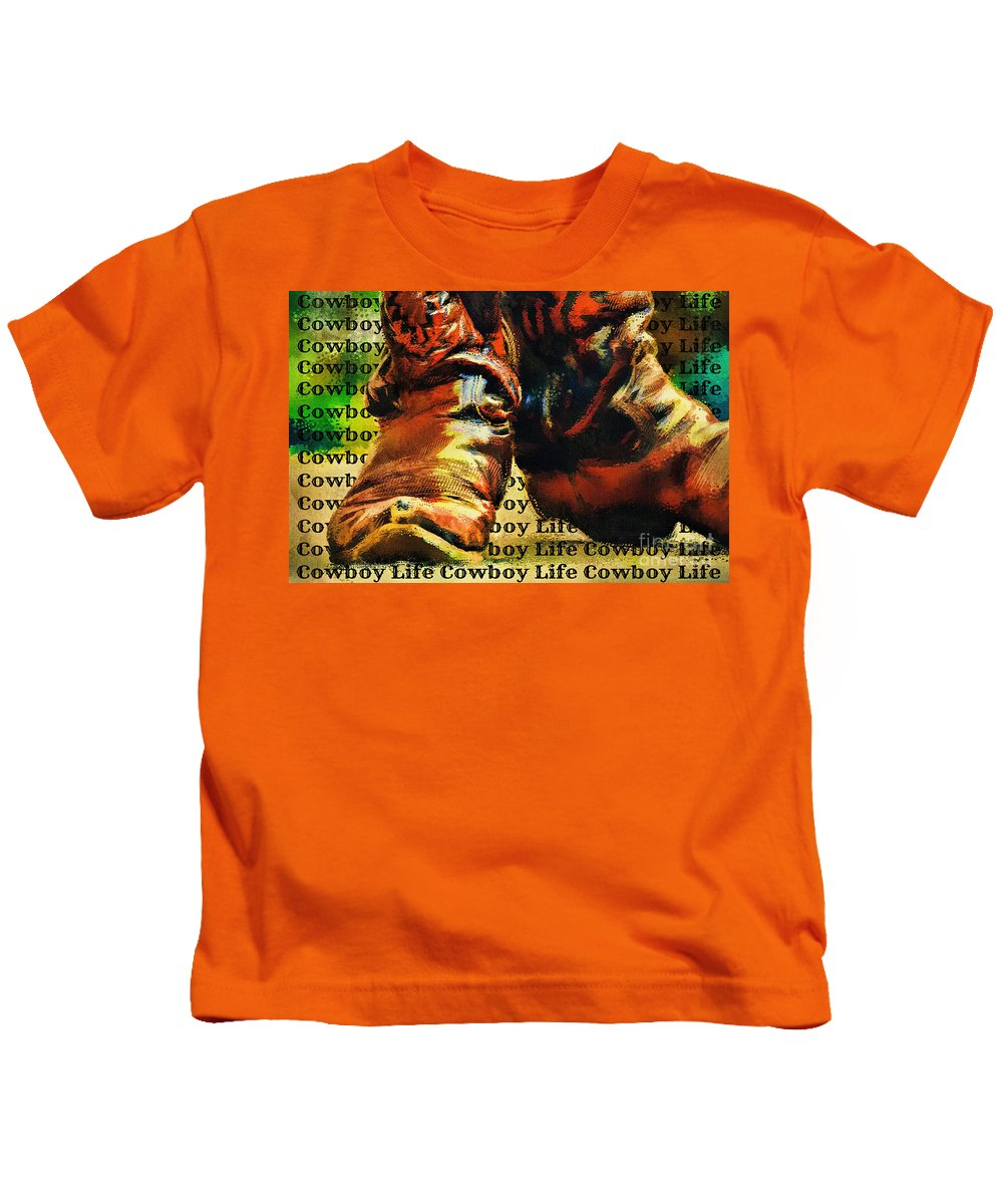 Cowboy Boots Kids T-Shirt featuring the digital art Cowboy Life by Tina LeCour