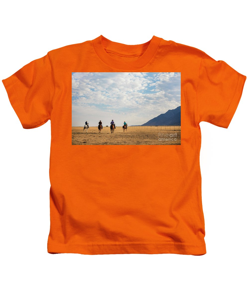 Cowboys Kids T-Shirt featuring the photograph Cowboys On The Open Range by Diane Diederich