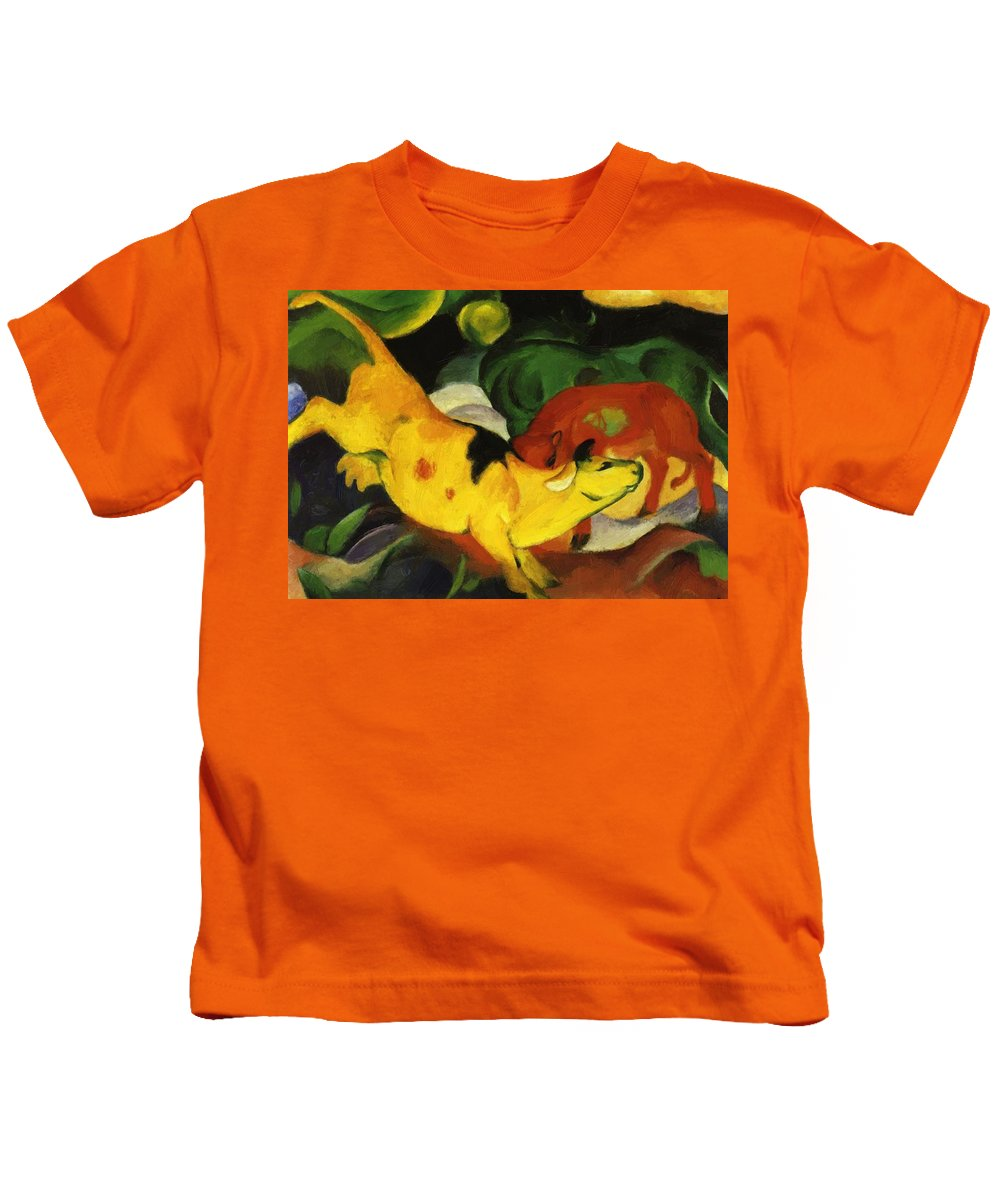 Cows Kids T-Shirt featuring the painting Cows Yellow Red Green 1912 by Marc Franz