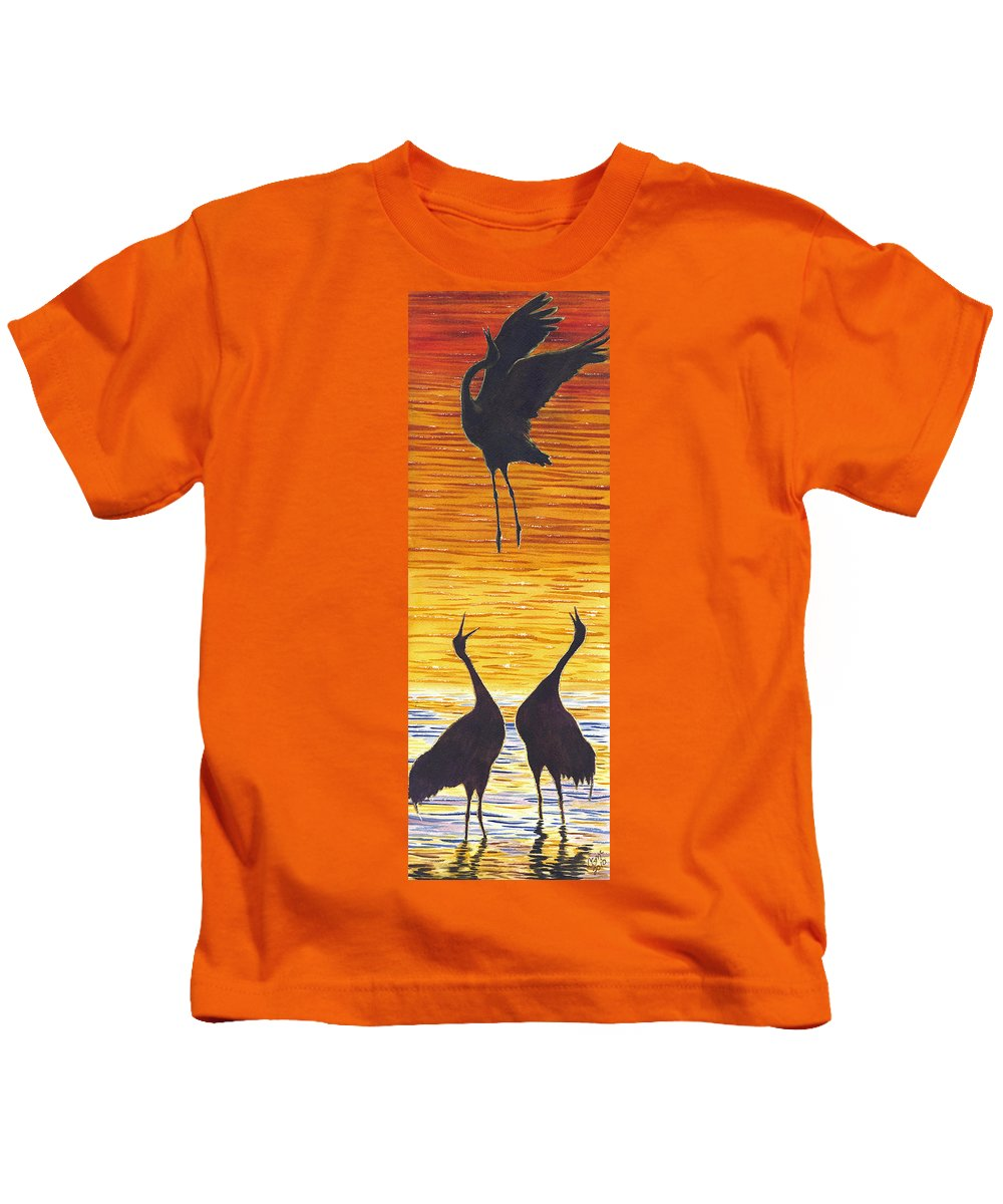 Crane Kids T-Shirt featuring the painting Crania by Catherine G McElroy