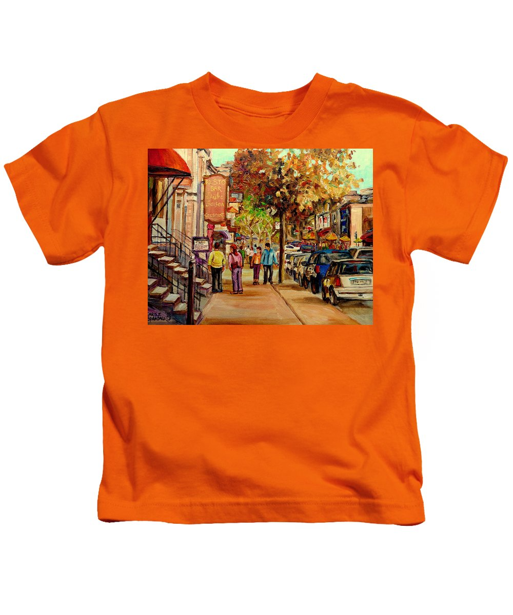 Montreal Streetscenes Kids T-Shirt featuring the painting Crescent Street Montreal by Carole Spandau