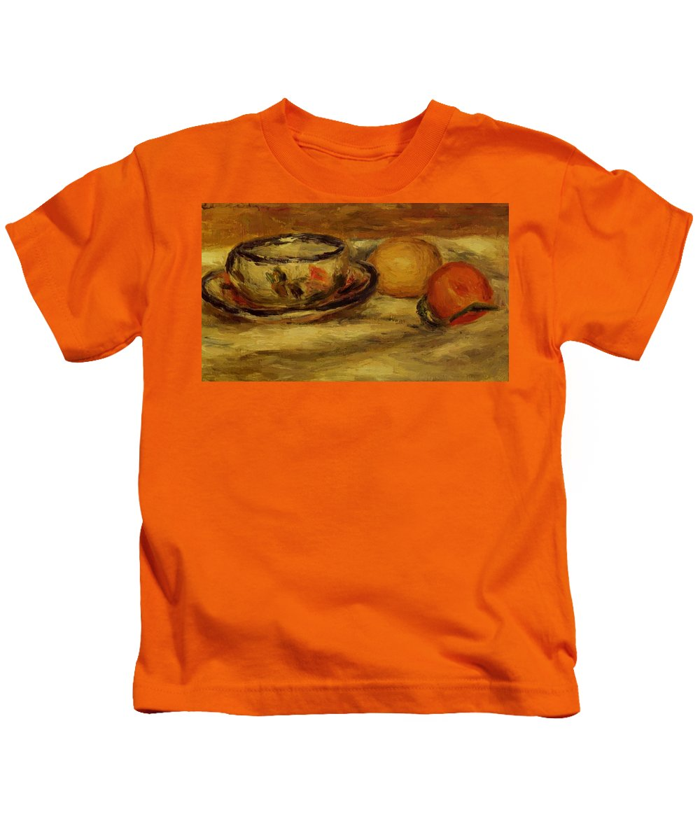 Cup Kids T-Shirt featuring the painting Cup Lemon And Tomato by Renoir PierreAuguste