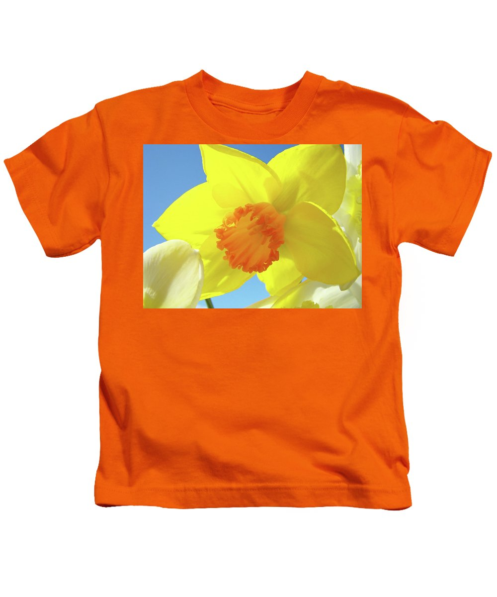 �daffodils Artwork� Kids T-Shirt featuring the photograph Daffodil Flowers Artwork 18 Spring Daffodils Art Prints Floral Artwork by Baslee Troutman