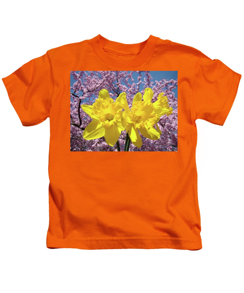 Daffodils Kids T-Shirt featuring the photograph Daffodil Flowers Spring Pink Tree Blossoms Art Prints Baslee Troutman by Patti Baslee