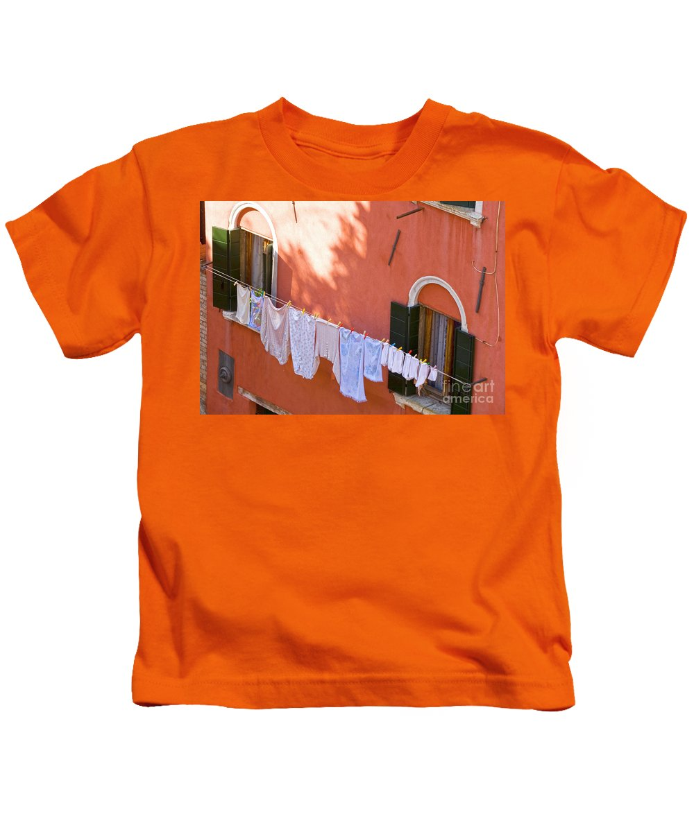Heiko Kids T-Shirt featuring the photograph Daily Life In Venice by Heiko Koehrer-Wagner