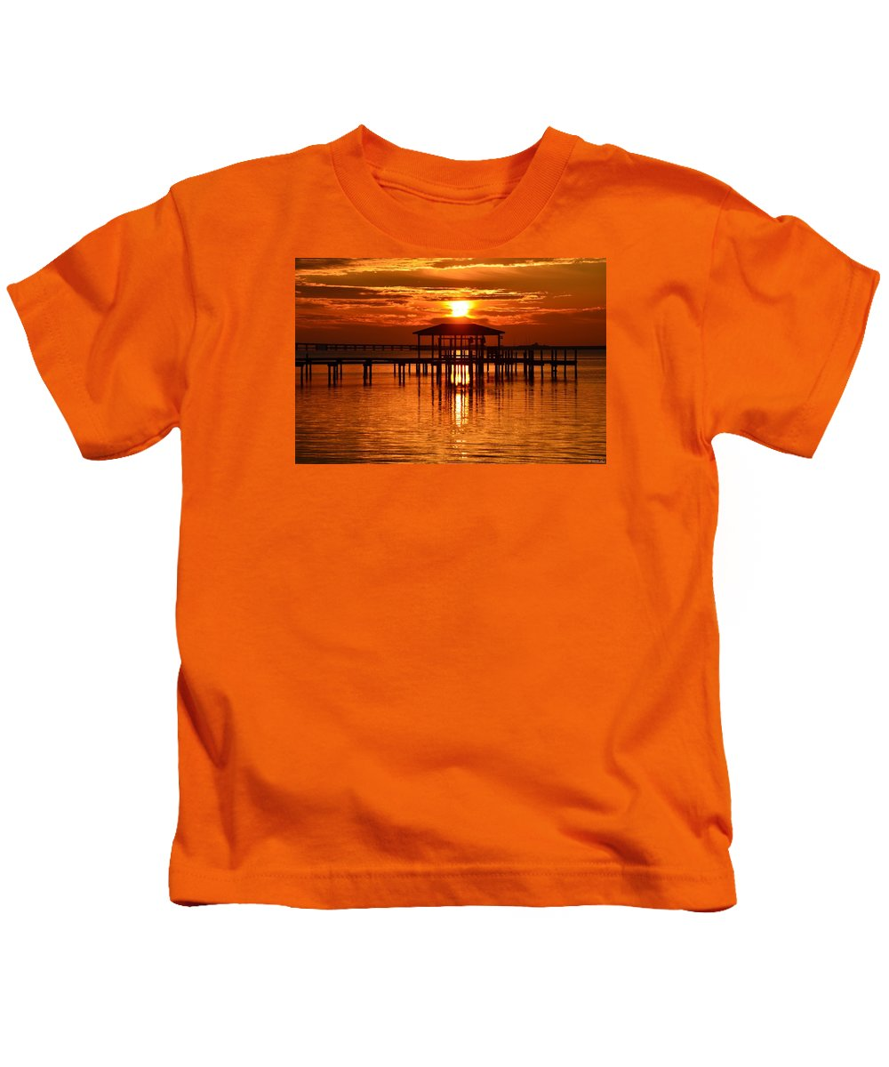 20120209 Kids T-Shirt featuring the photograph 0209 Dark Orange Sunrise On Sound by Jeff at JSJ Photography
