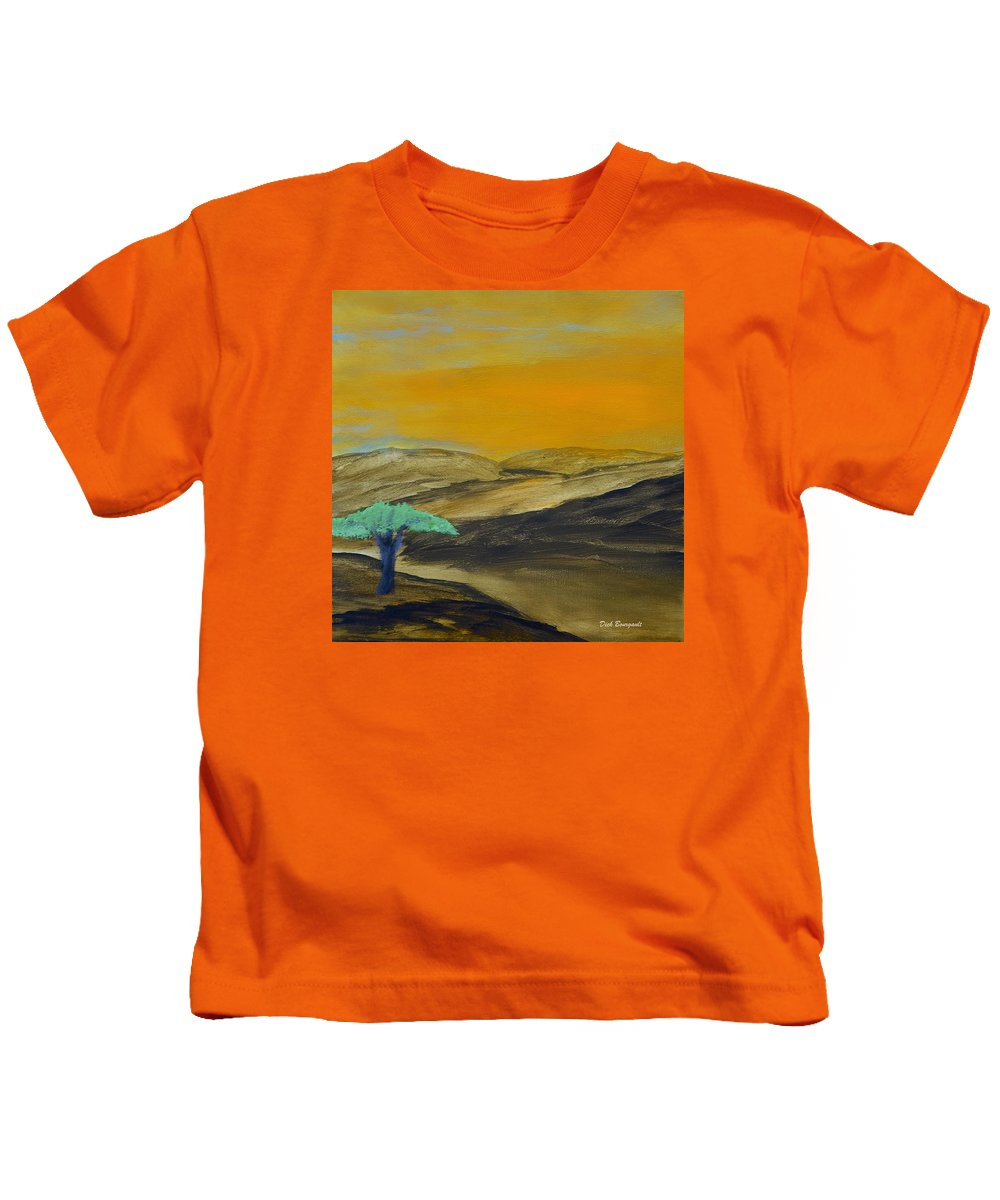Savannah Kids T-Shirt featuring the painting Dawn On The Savannah by Dick Bourgault