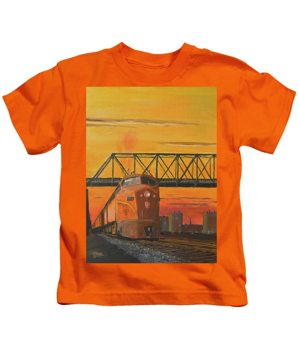 Train Kids T-Shirt featuring the painting Dawn Patrol by Christopher Jenkins