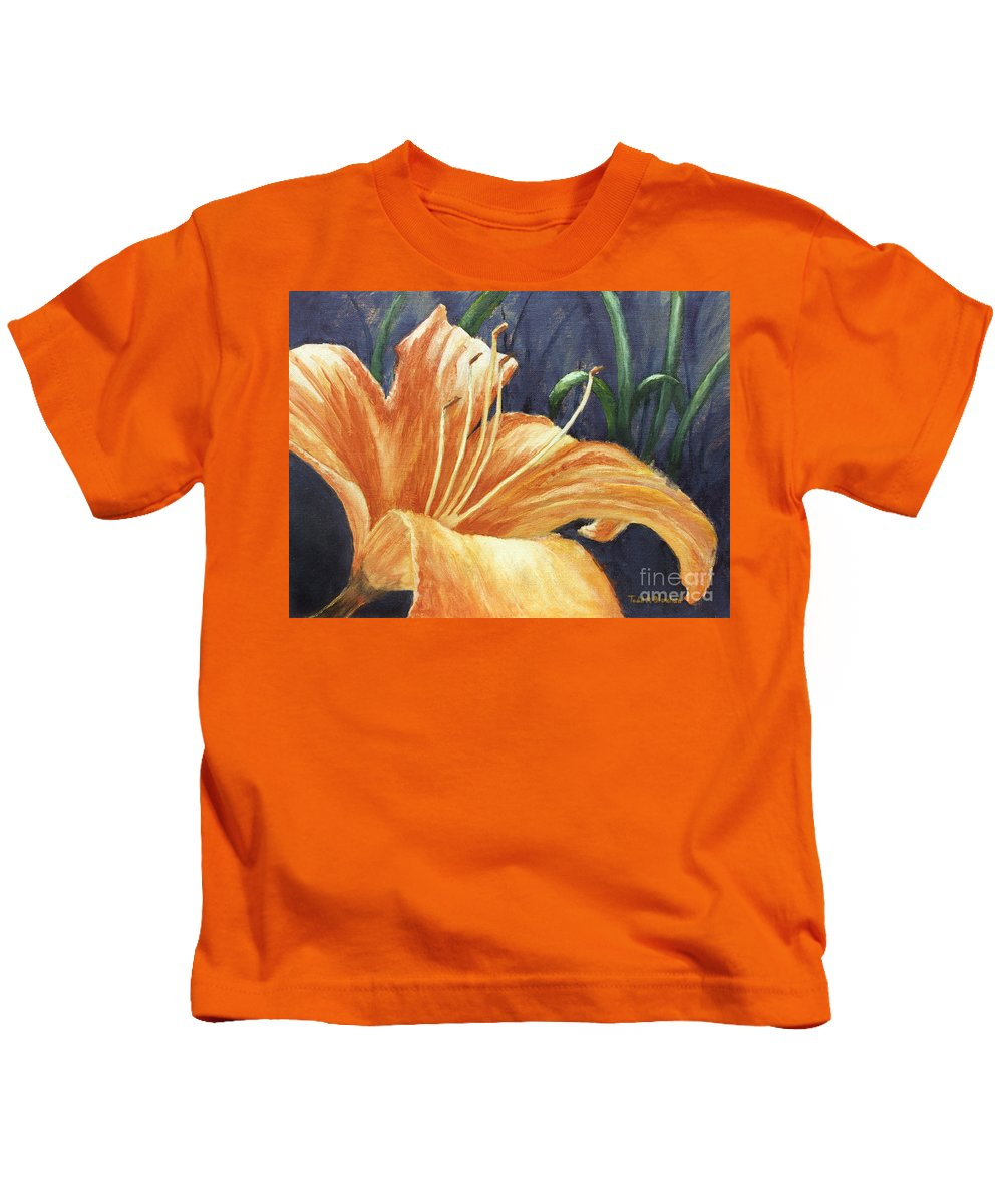 Flower Kids T-Shirt featuring the painting Daylily by Todd Blanchard