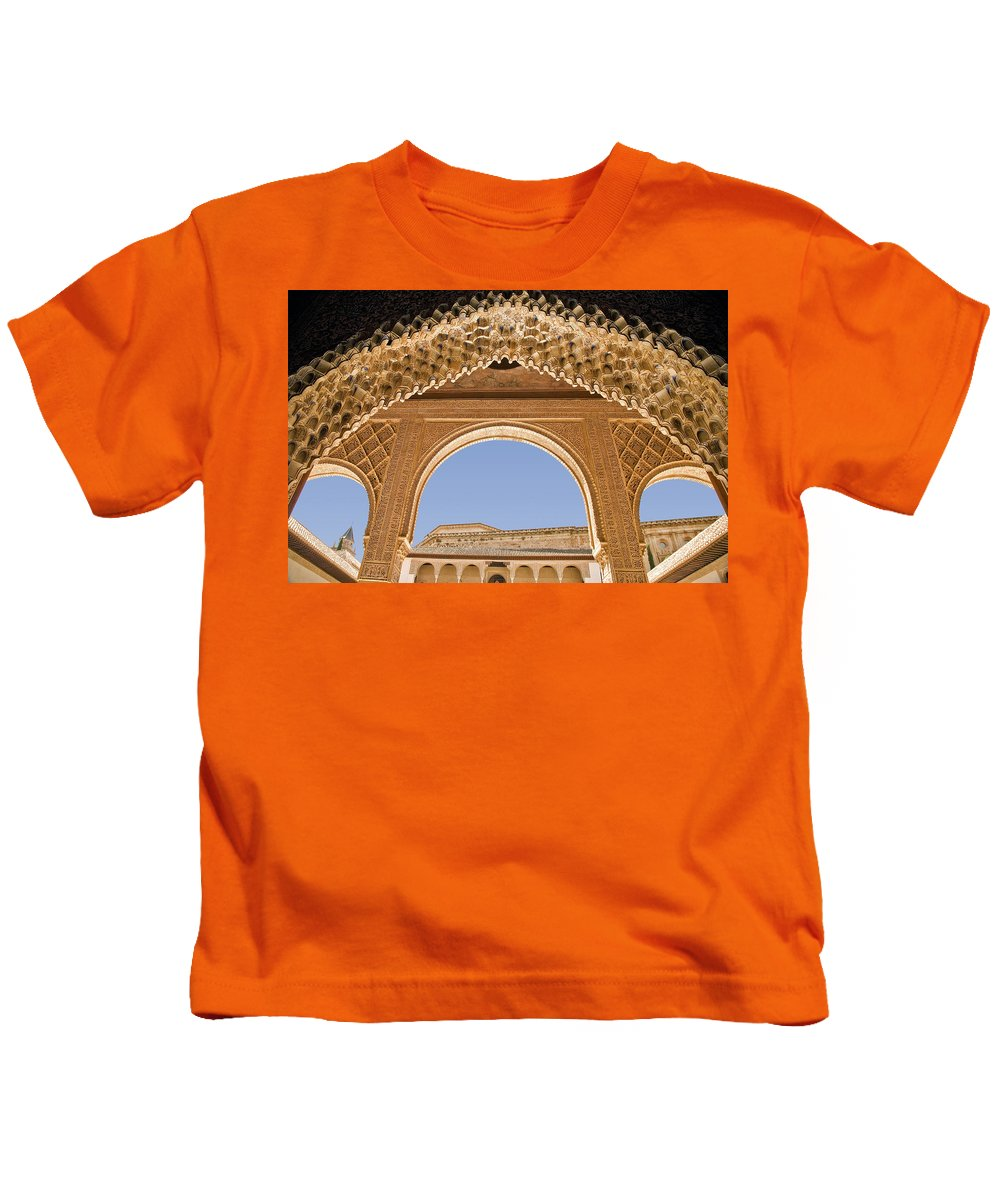 Architecture Kids T-Shirt featuring the photograph Decorative Moorish Architecture In The Nasrid Palaces At The Alhambra Granada Spain by Mal Bray