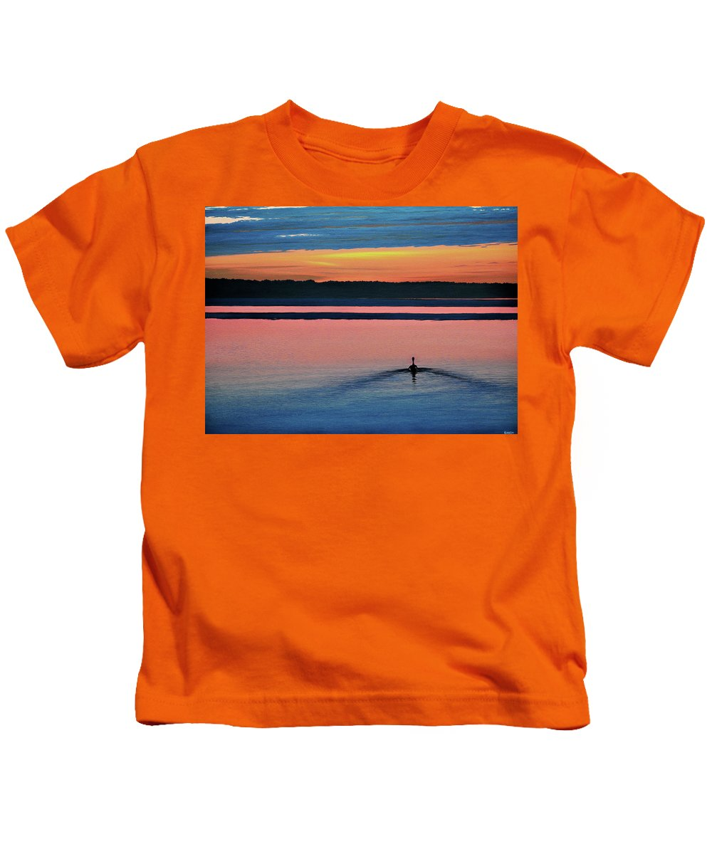 Sunset Kids T-Shirt featuring the painting Deepest Sunset by Kenneth M Kirsch