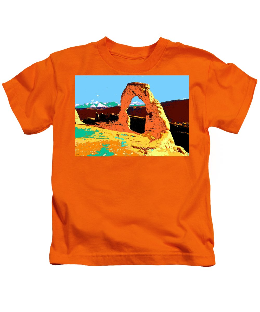 Delicate+arch Kids T-Shirt featuring the painting Delicate Arch Utah - Pop Art by Peter Potter
