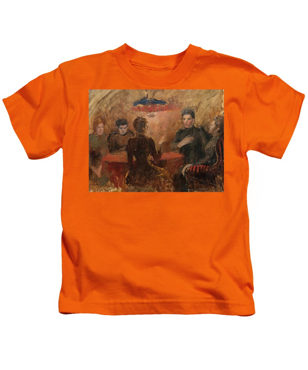 Venny Soldan-brofeldt Kids T-Shirt featuring the painting Discussion by MotionAge Designs