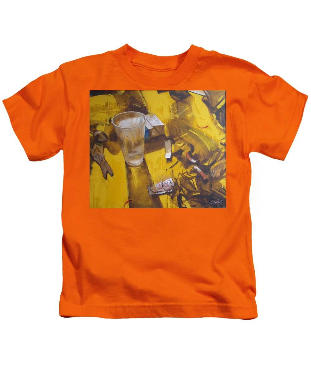 Disposable Kids T-Shirt featuring the painting Disposable by Sergey Ignatenko