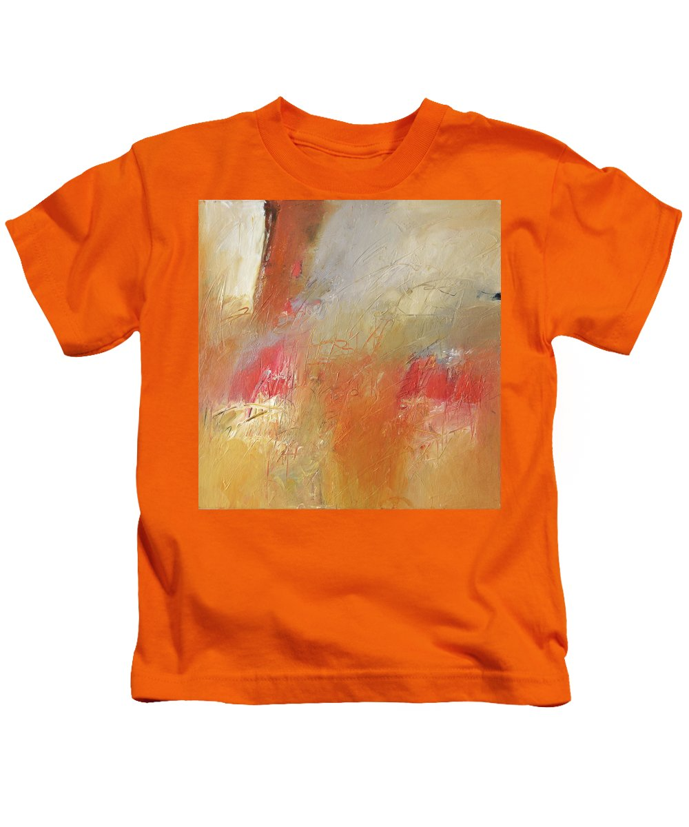 Abstract Kids T-Shirt featuring the painting Distant Fire by Filomena Booth