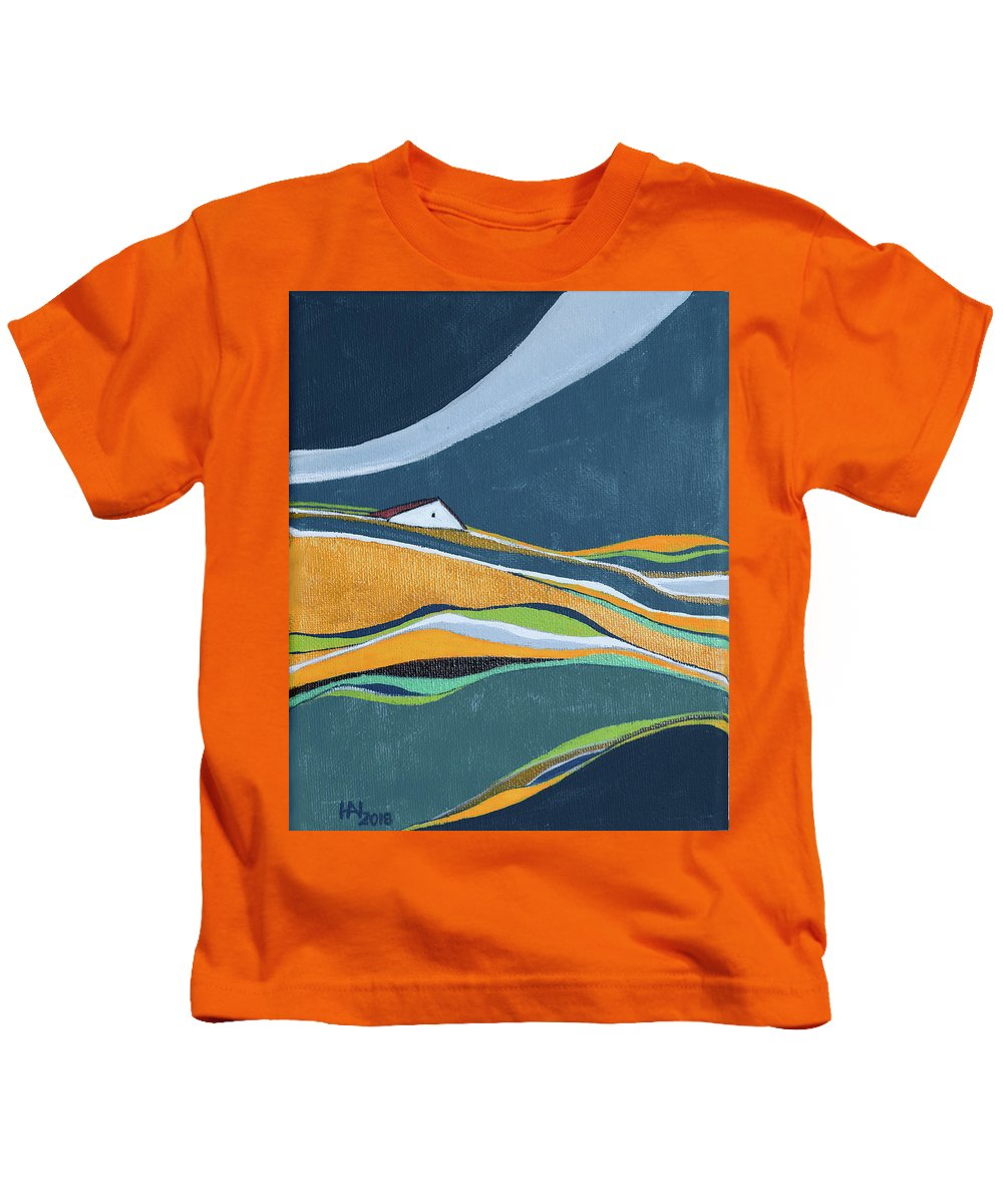 Abstract Kids T-Shirt featuring the painting Distant House by Aniko Hencz