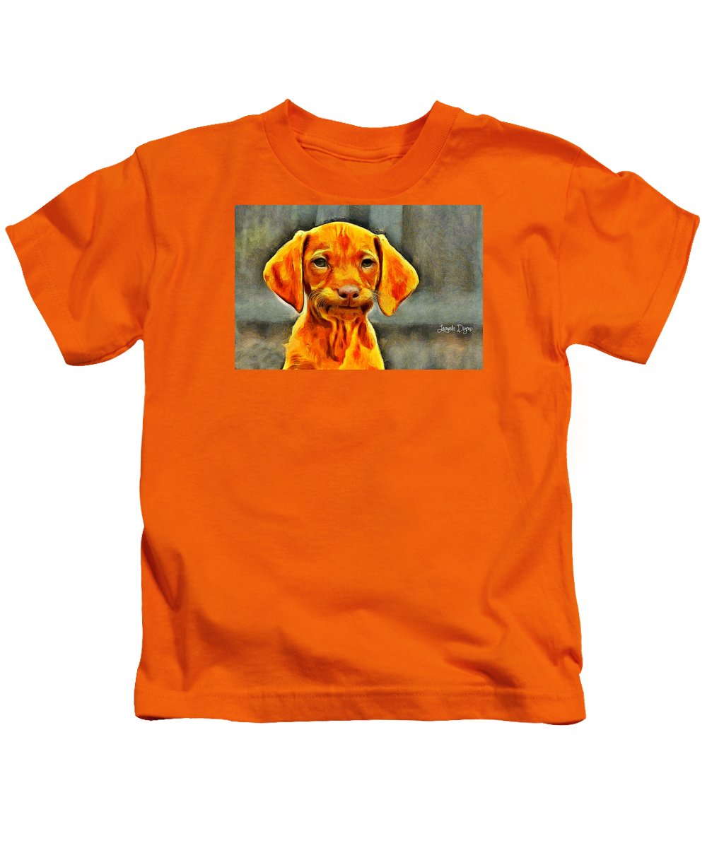 Affection Kids T-Shirt featuring the painting Dog Friend by Leonardo Digenio
