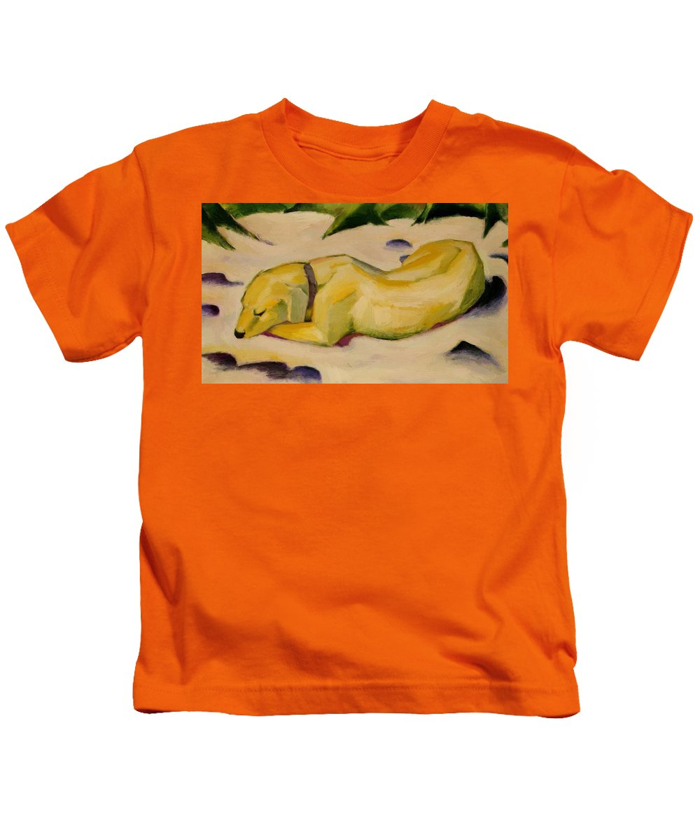 Dog Kids T-Shirt featuring the painting Dog Lying In The Snow by Marc Franz