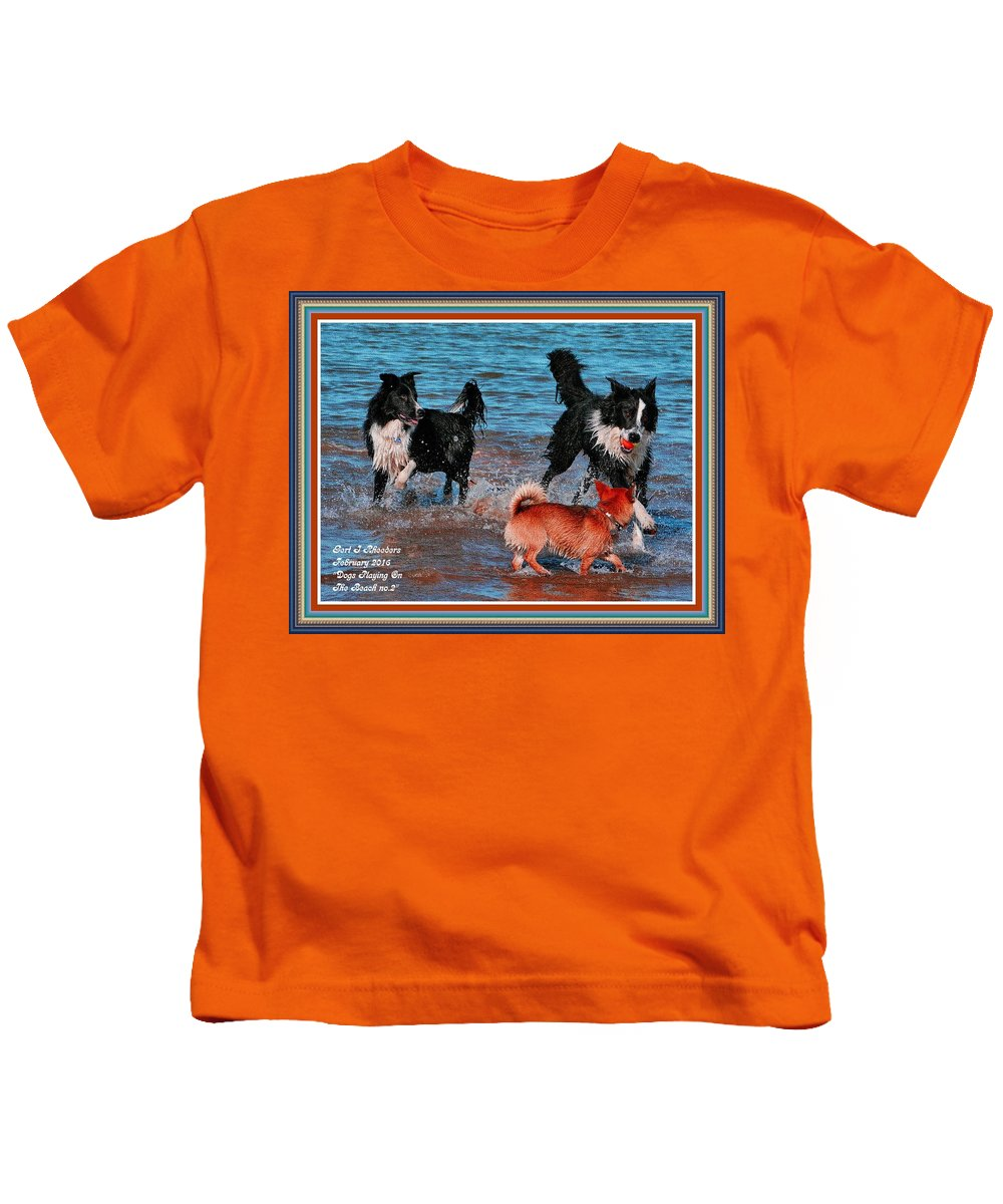 Dogs Kids T-Shirt featuring the painting Dogs Playing On The Beach No. 2 L A With Decorative Ornate Printed Frame. by Gert J Rheeders