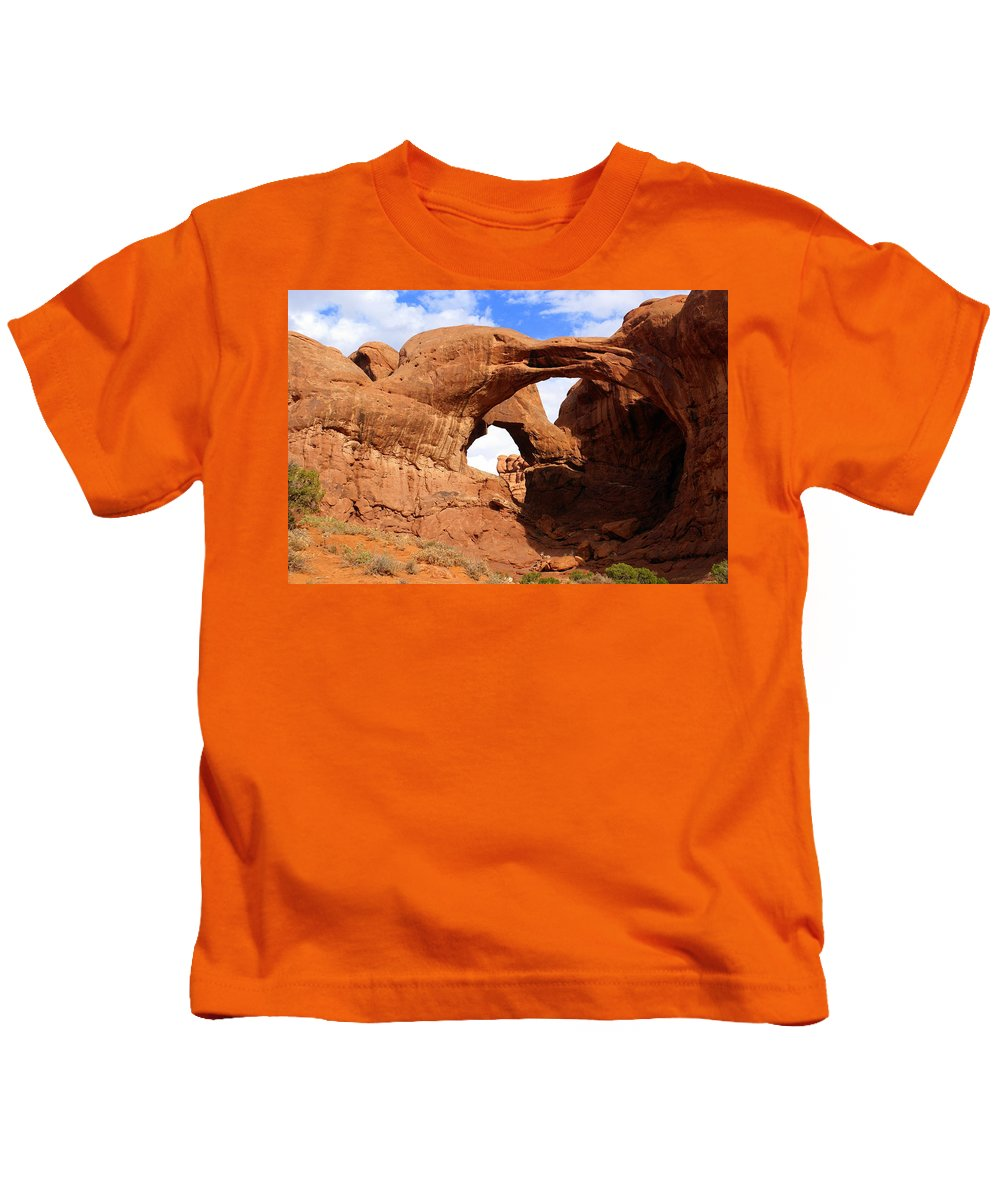 Southwest Art Kids T-Shirt featuring the photograph Double Arch by Marty Koch