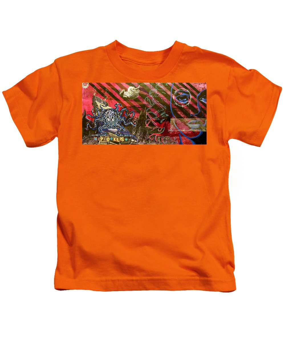 Octopus Kids T-Shirt featuring the painting Down In It by Bobby Zeik
