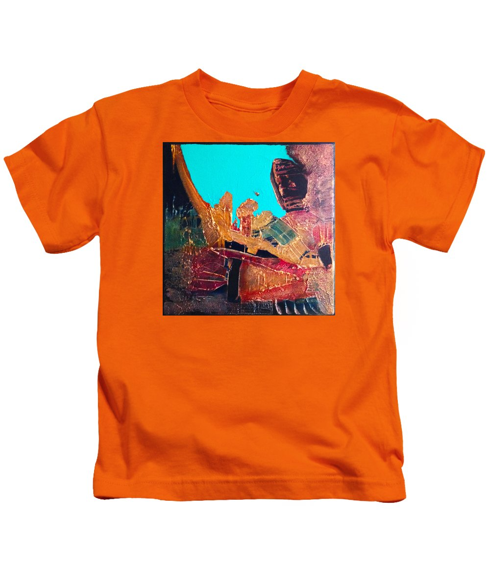 Abstract Expressionist Kids T-Shirt featuring the painting Drummer Boy by Terry Hardin