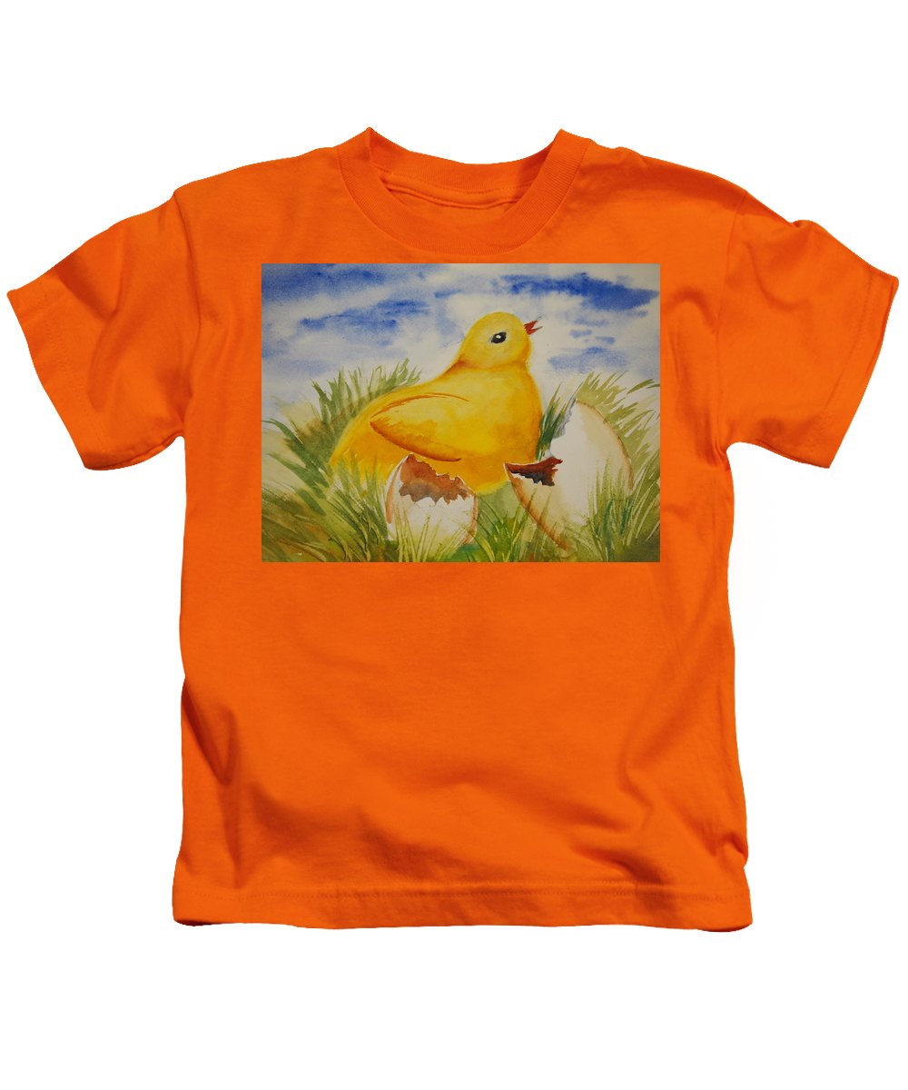 Easter Kids T-Shirt featuring the painting Easter Chick by Rod Stewart