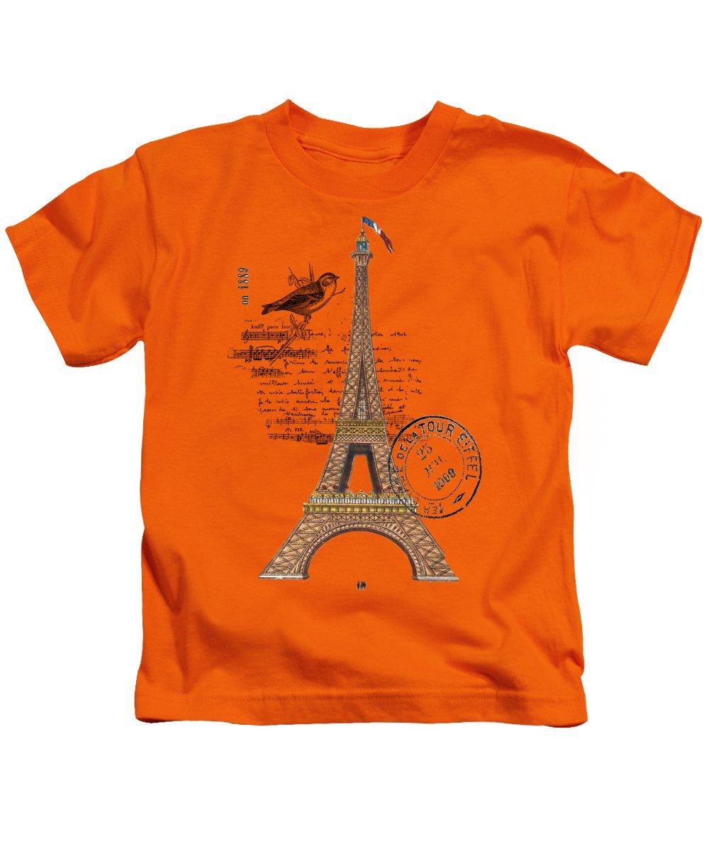 18915f0d Eiffel Tower T Shirt Design Kids T-Shirt featuring the digital art Eiffel  Tower T