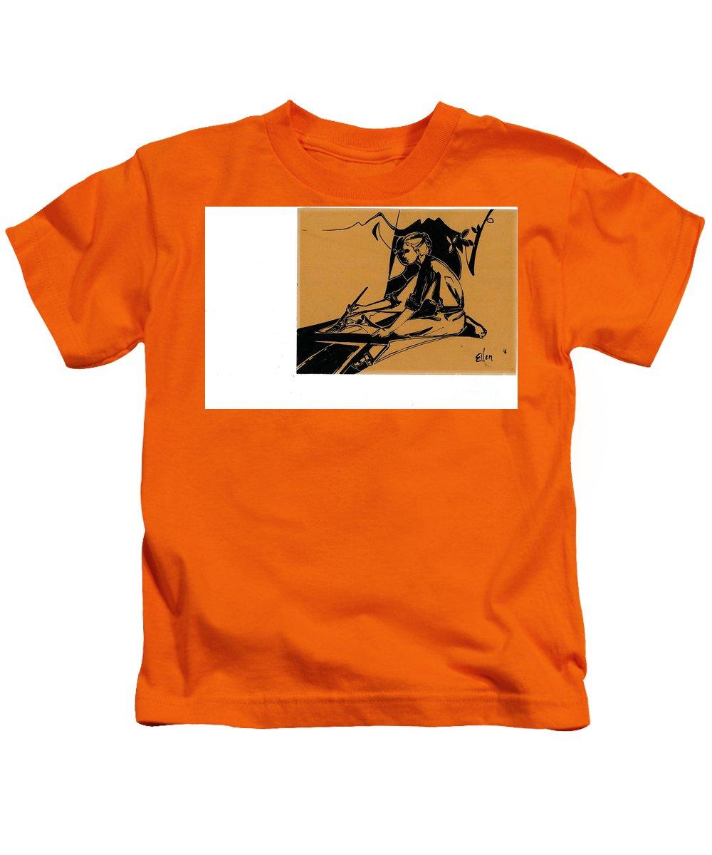 Self Portrait Kids T-Shirt featuring the drawing Ellen Palmer As Artist by Ellen Palmer Legacy Art