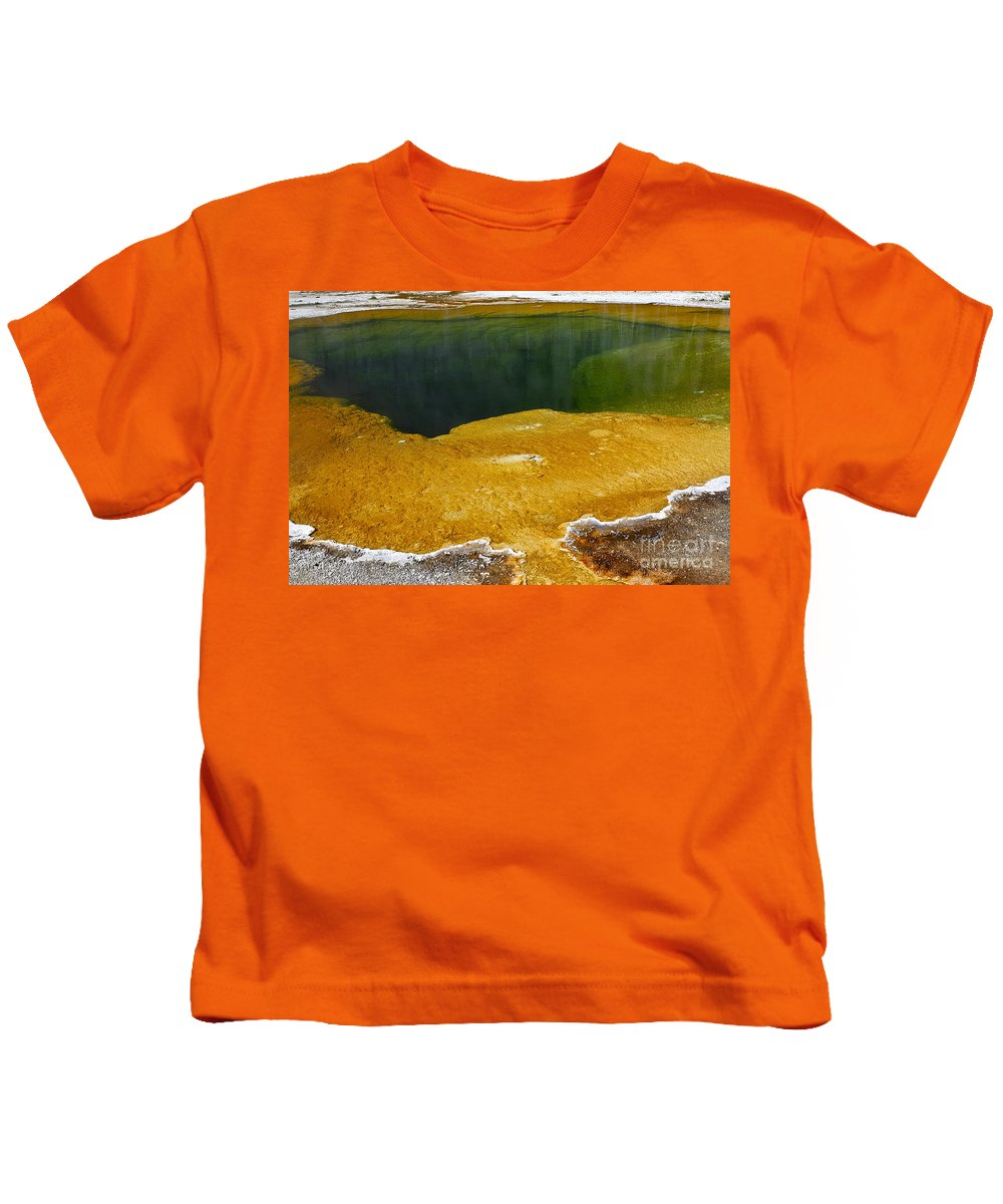 Hot Spring Kids T-Shirt featuring the photograph Emerald Pool Yellowstone National Park by Teresa Zieba
