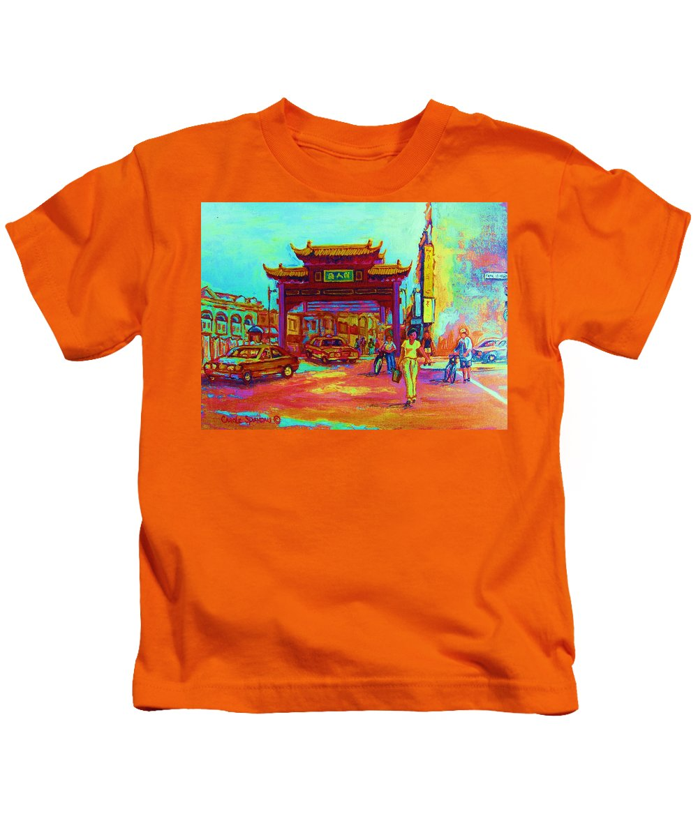 Montreal Kids T-Shirt featuring the painting Entrance To Chinatown by Carole Spandau