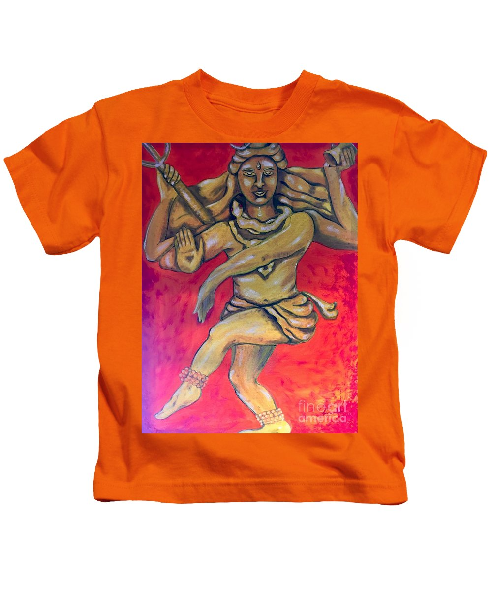 Shiva Kids T-Shirt featuring the painting Eternal Dancer by Brindha Naveen