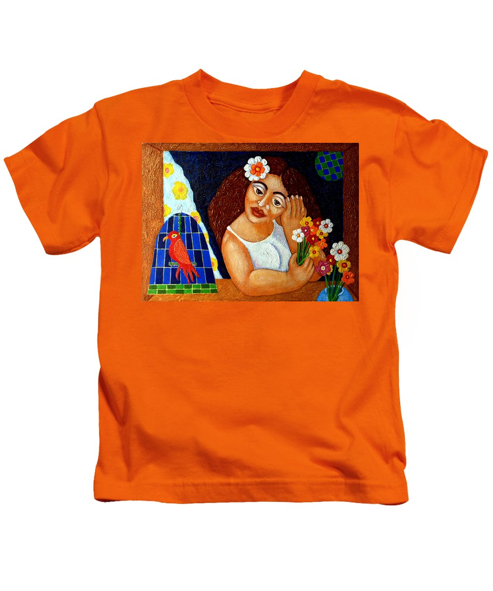 Eve Kids T-Shirt featuring the painting Eternal Eve - II by Madalena Lobao-Tello