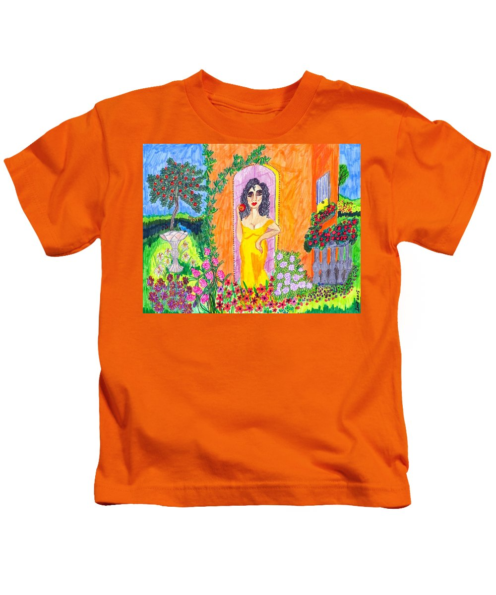 Folk Art Kids T-Shirt featuring the painting Evening At The Girl Cave by Stacey Torres
