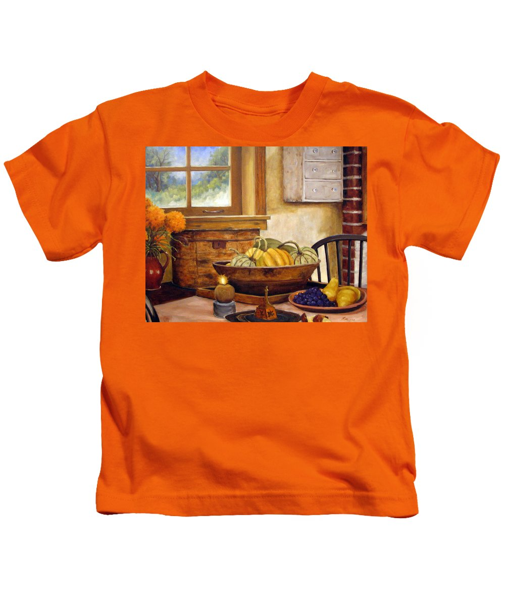 Fall Kids T-Shirt featuring the painting Fall Harvest by Richard T Pranke