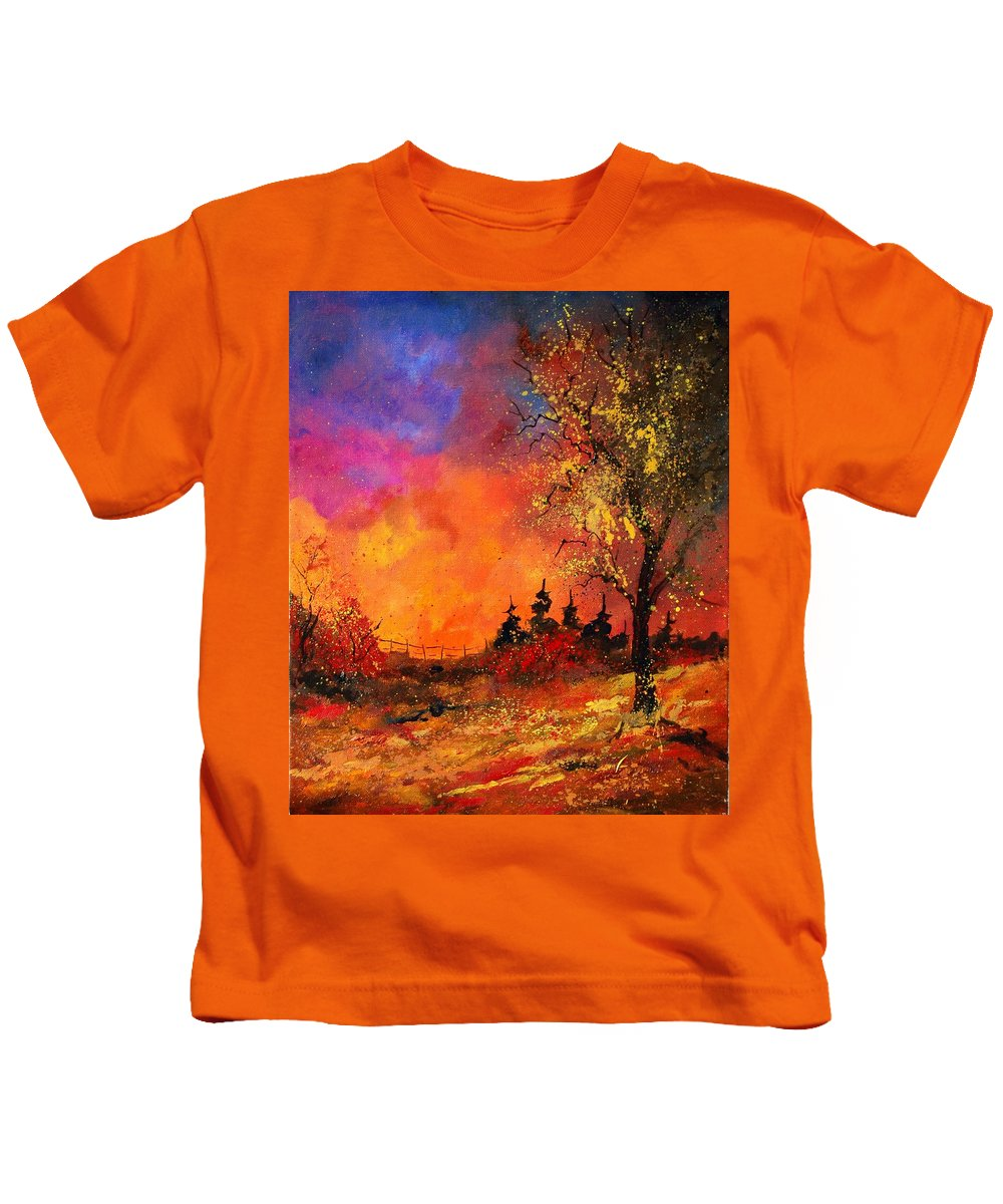 River Kids T-Shirt featuring the painting Fall by Pol Ledent