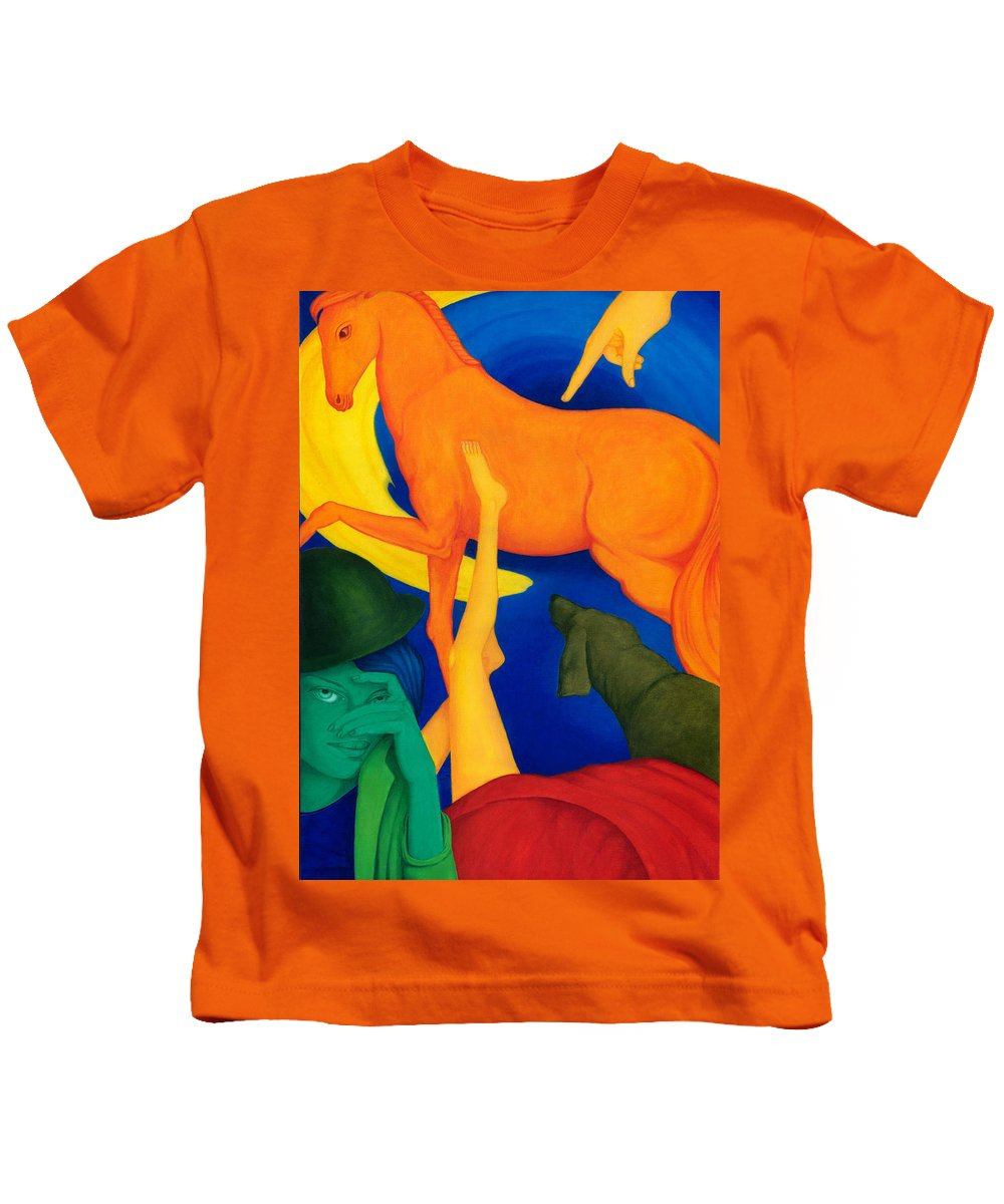 Surreal Kids T-Shirt featuring the painting Falling Down. by Andrzej Pietal