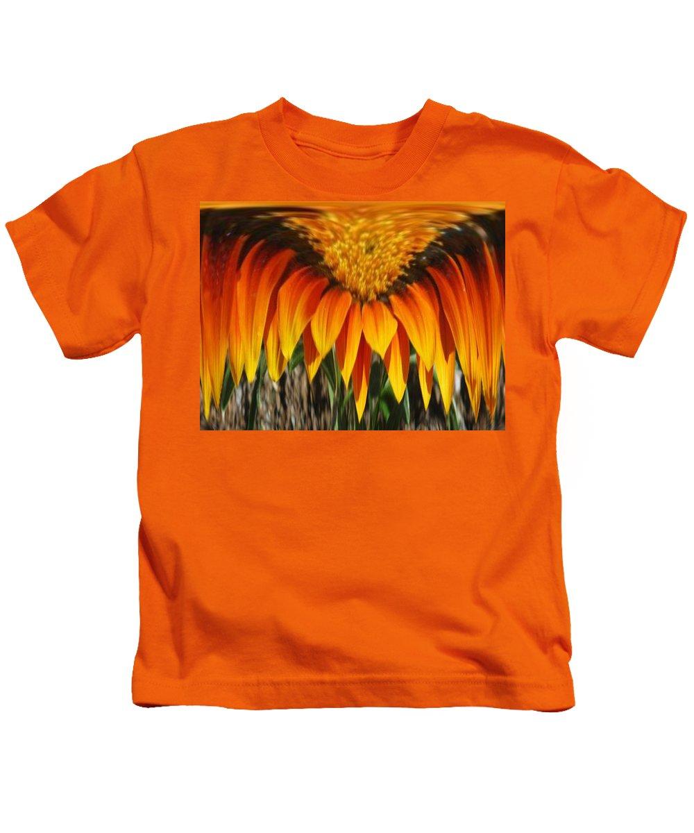 Gold Flower Kids T-Shirt featuring the digital art Falling Fire by Barbara Griffin