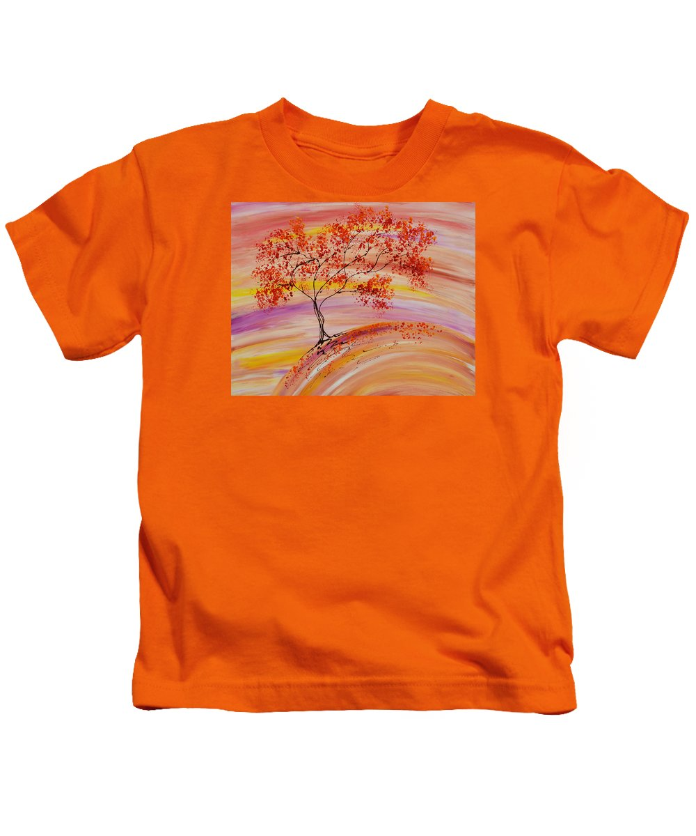 Tree Kids T-Shirt featuring the painting Falling On A Hill by Laura Lecce