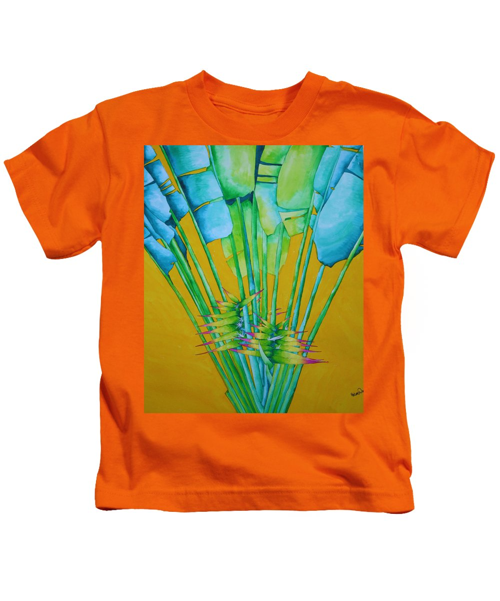 Fan Palm Kids T-Shirt featuring the painting Fan Palm With Yellow by Helen Weston