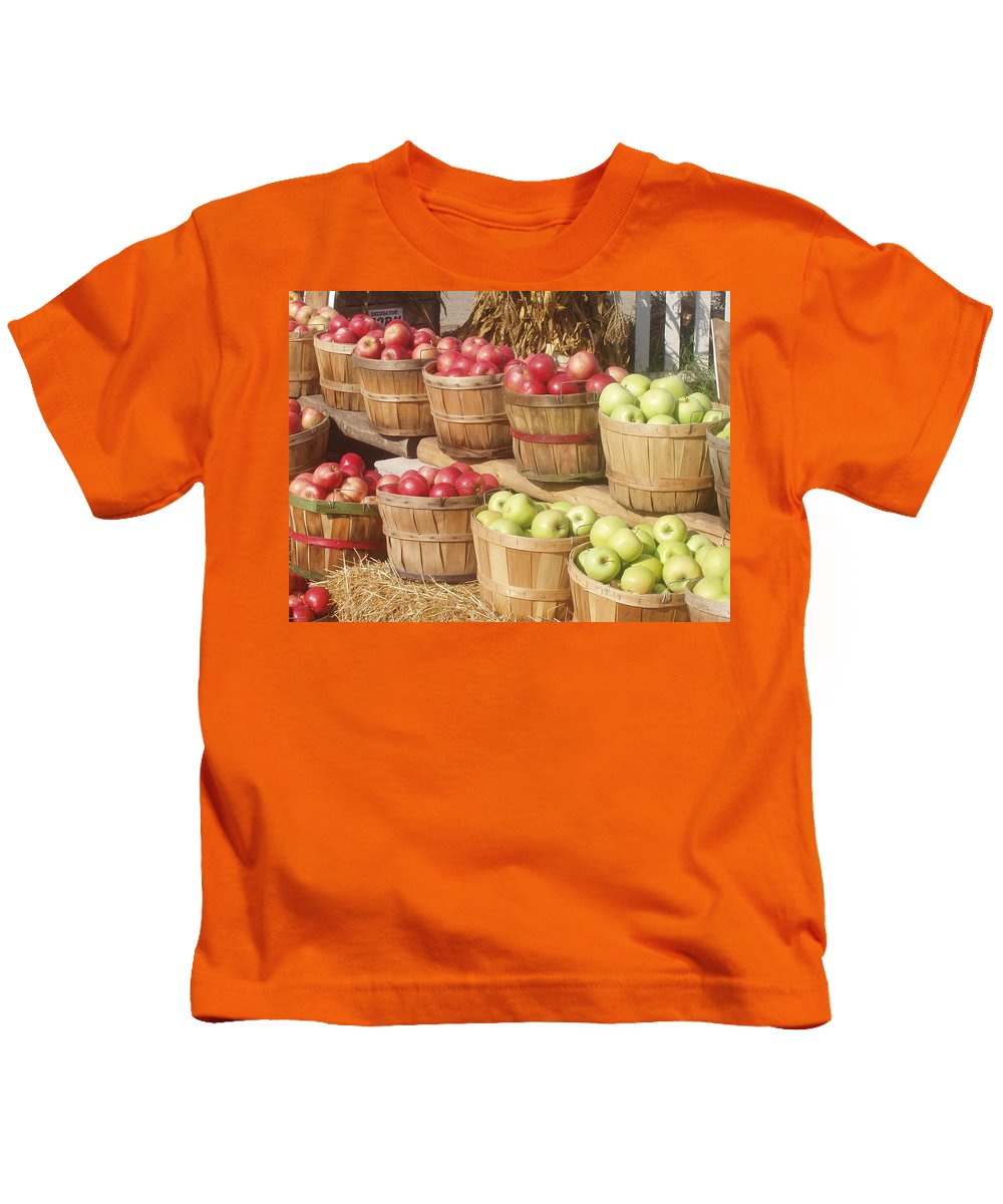 Farmers Market Kids T-Shirt featuring the photograph Farmer's Market Apples by Wayne Potrafka